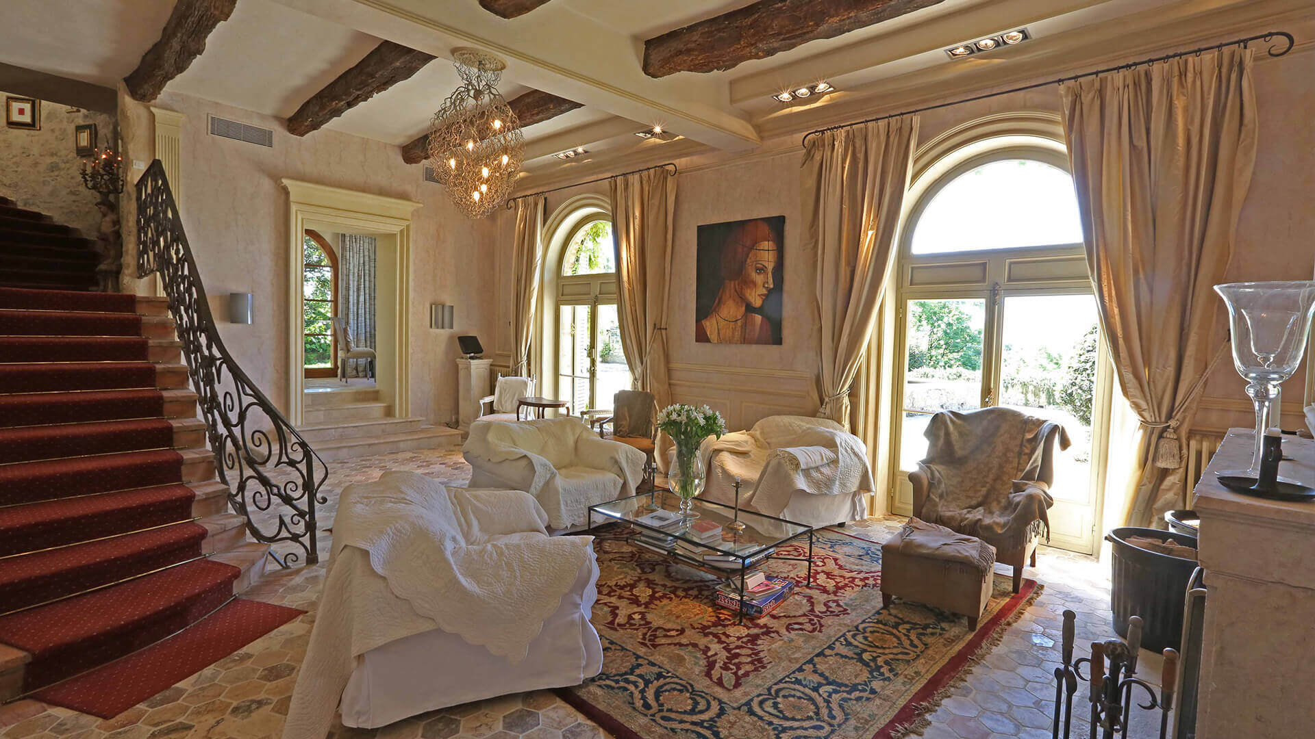 Bastide Provencale marble living room and staircase