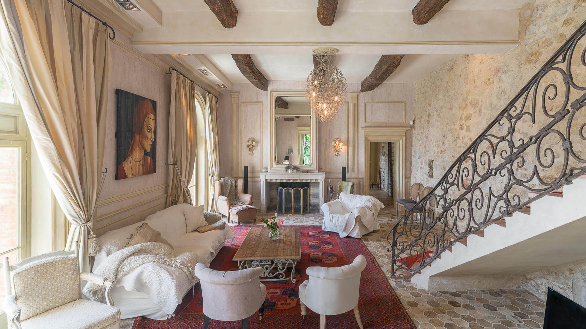 Bastide Provencale marble livingroom with fireplace