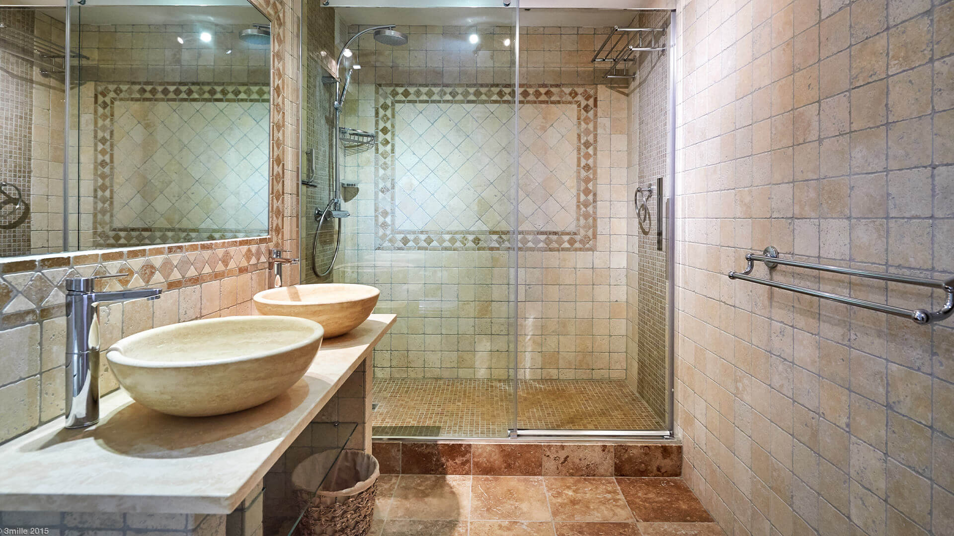 Bastide in Mougins tiled bathroom with large shower