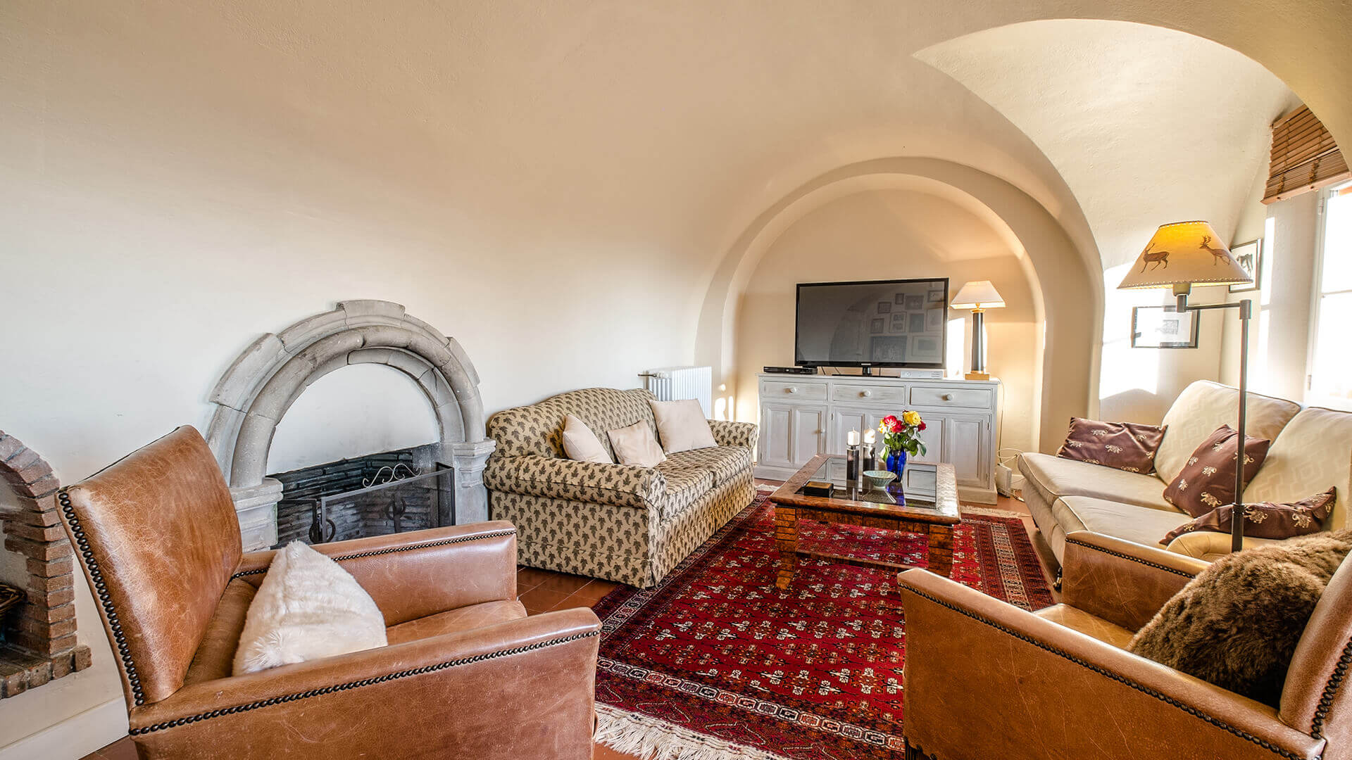 Beautiful villa outside Grasse living room with fireplace