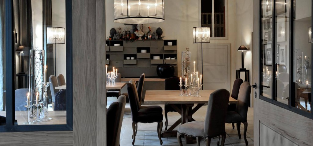 Chateau Perche dining area with candles and chandelier