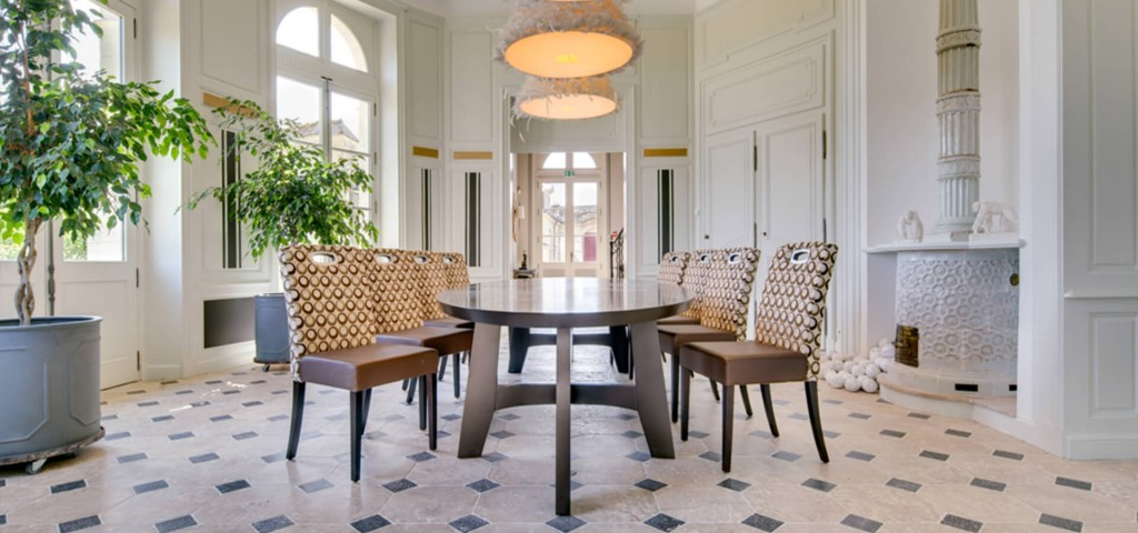 Chateau in Loire renaissance dining area with marble tile floor