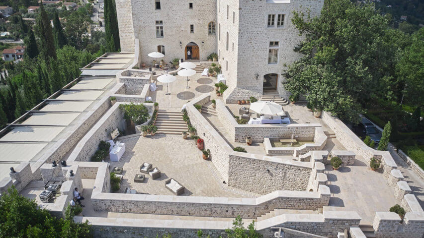 Chateau outside Nice courtyard with sitting areas