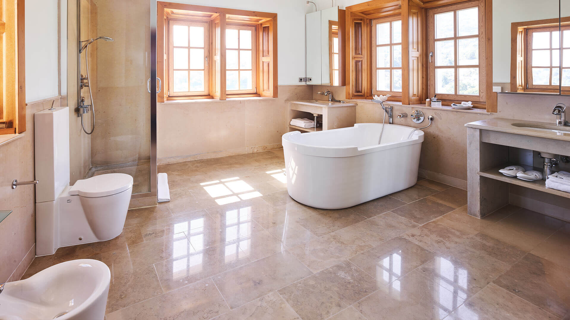 Chateau outside Nice marble bathroom with bathtub