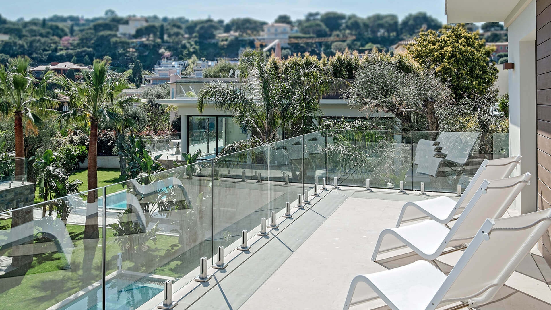 Large Luxury villa balcony and garden