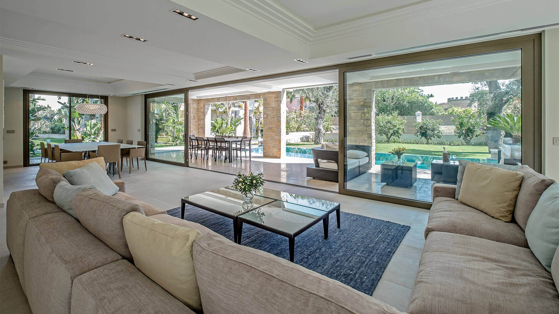 Living room and swimming pool