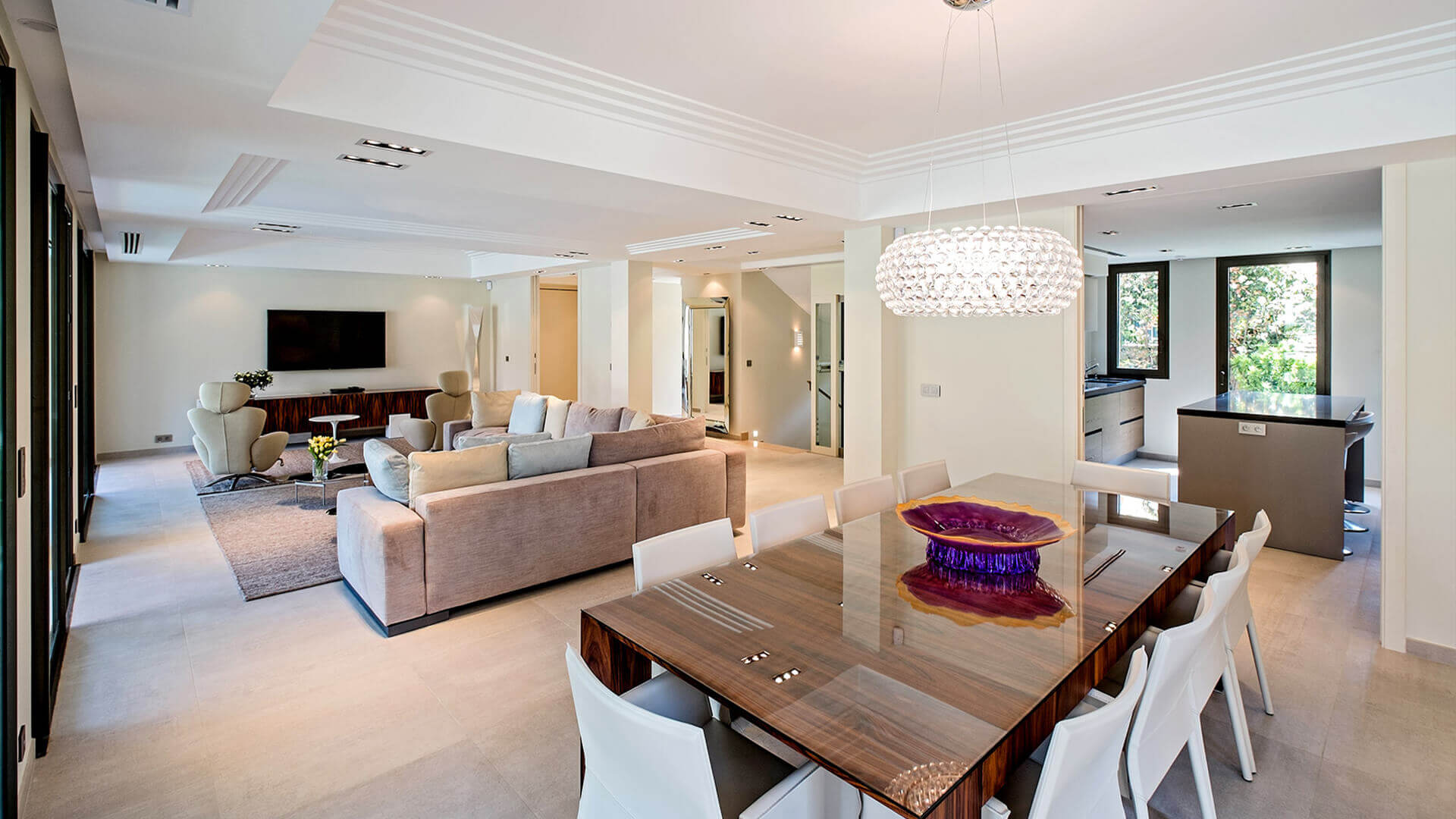 Large Luxury villa living room and dining area