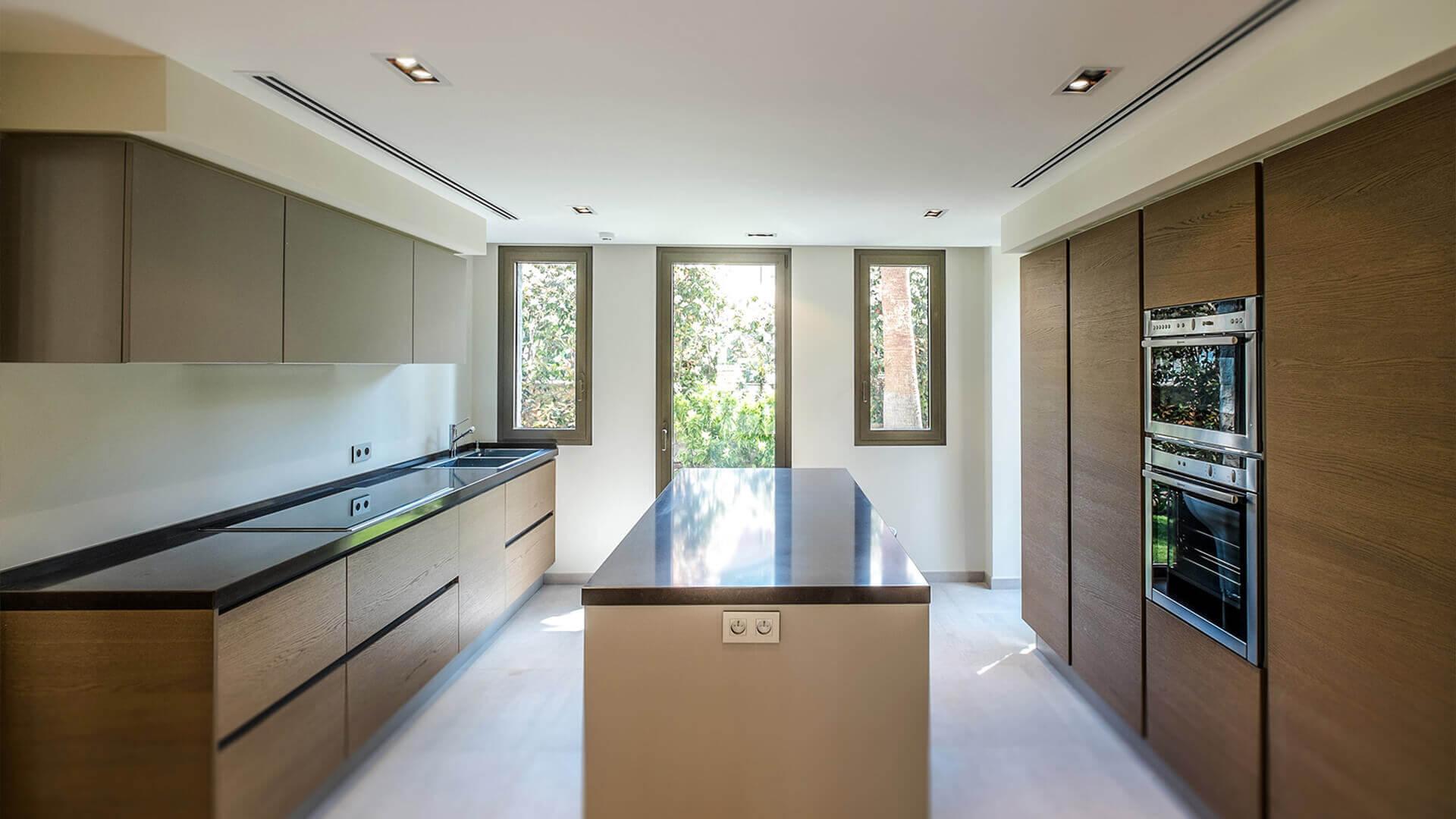 Large Luxury villa marble and wooden kitchen