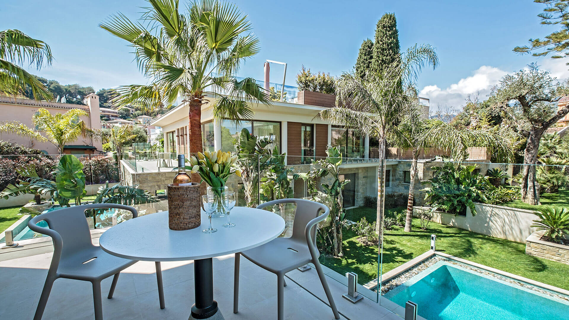 Large Luxury villa balcony with view of swimming pool