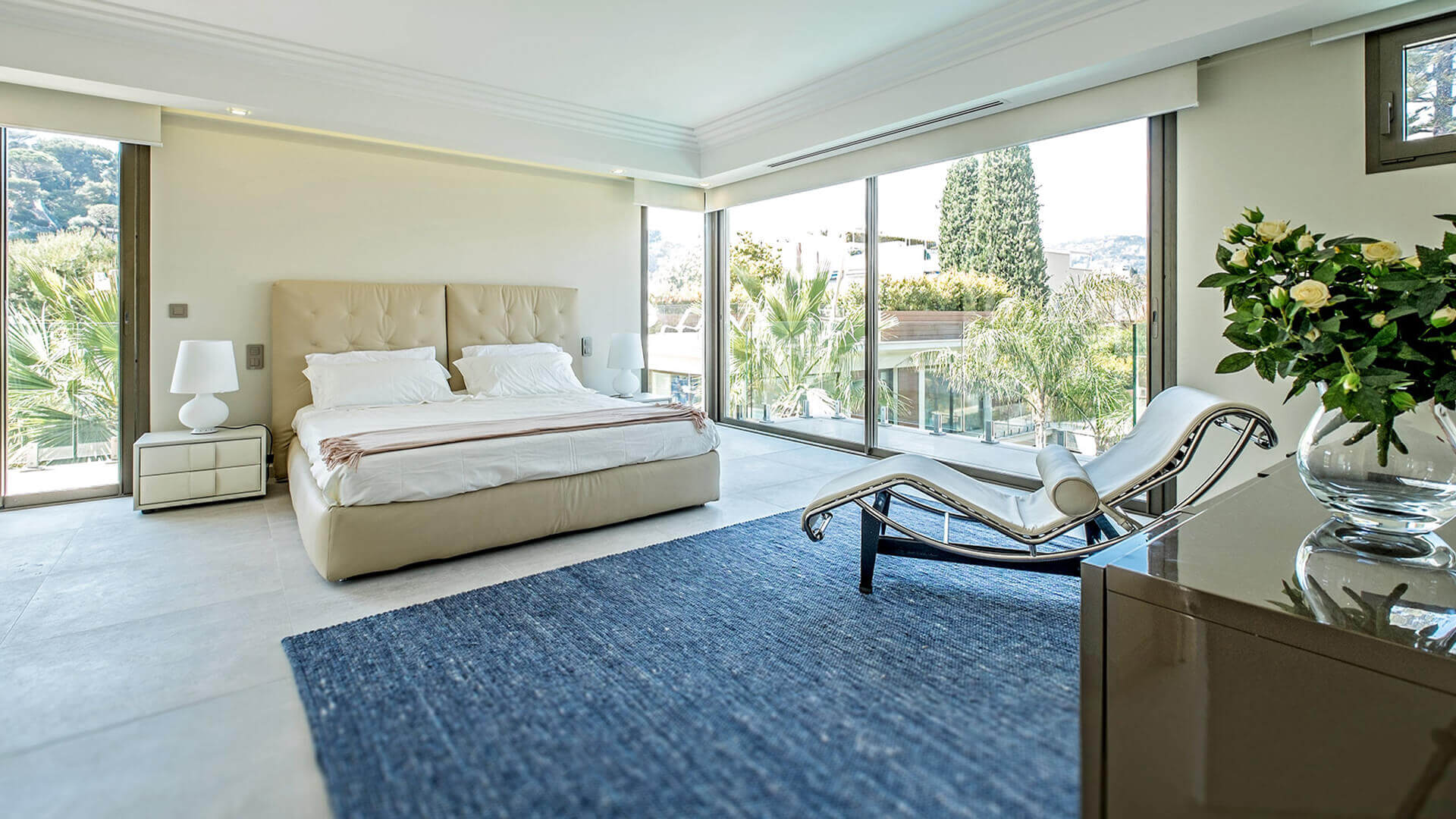 Large Luxury villa bedroom with view