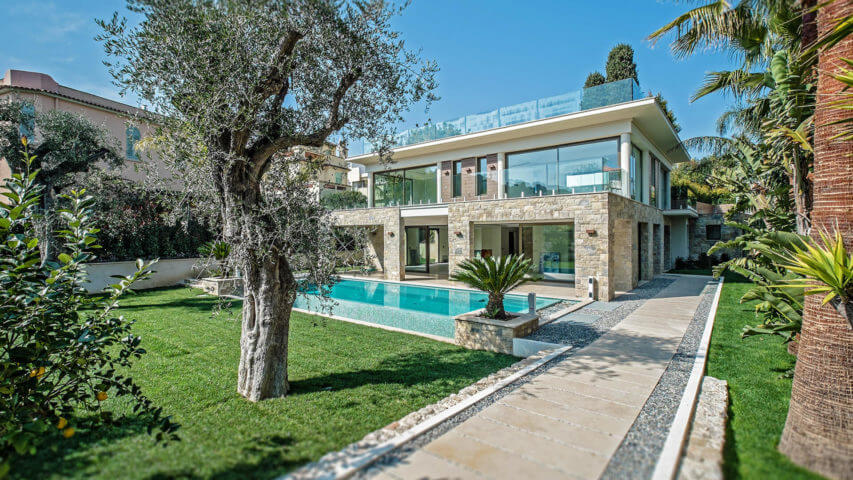 Beautiful villa outside Grasse garden with tree and swimming pool