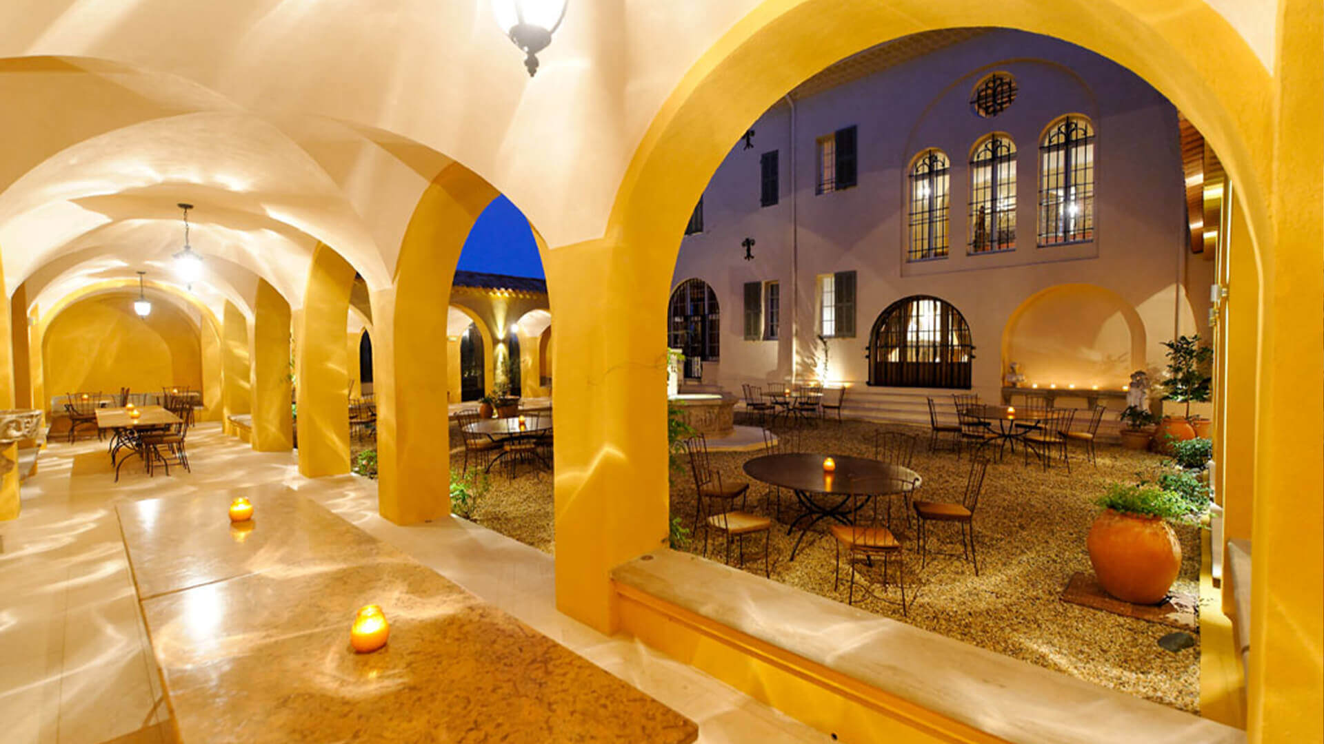 Large luxury Chateau courtyard with arches