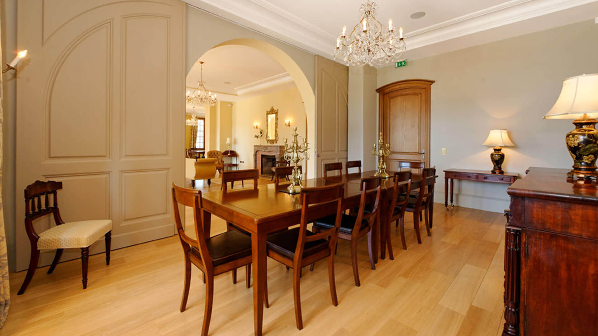 Large luxury Chateau dining room with chandelier