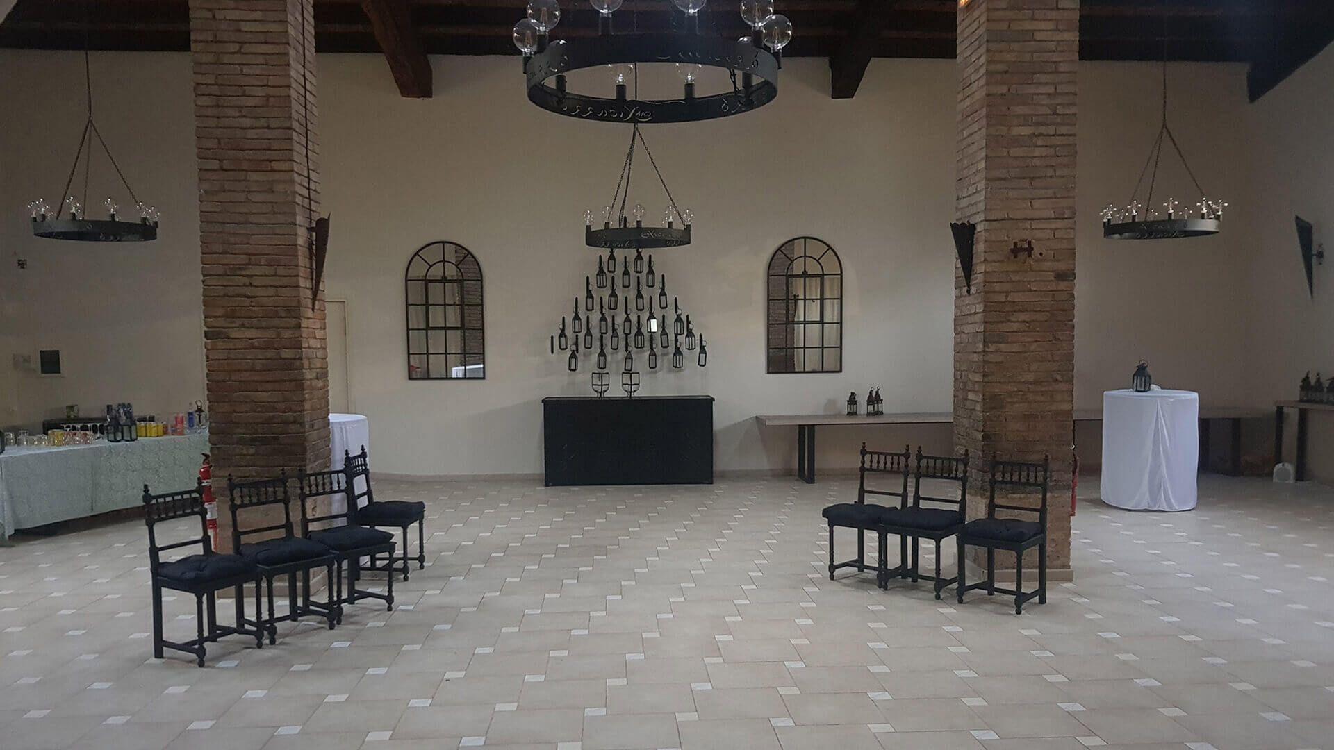 Large property outside Barcelona banquet hall with chandelier