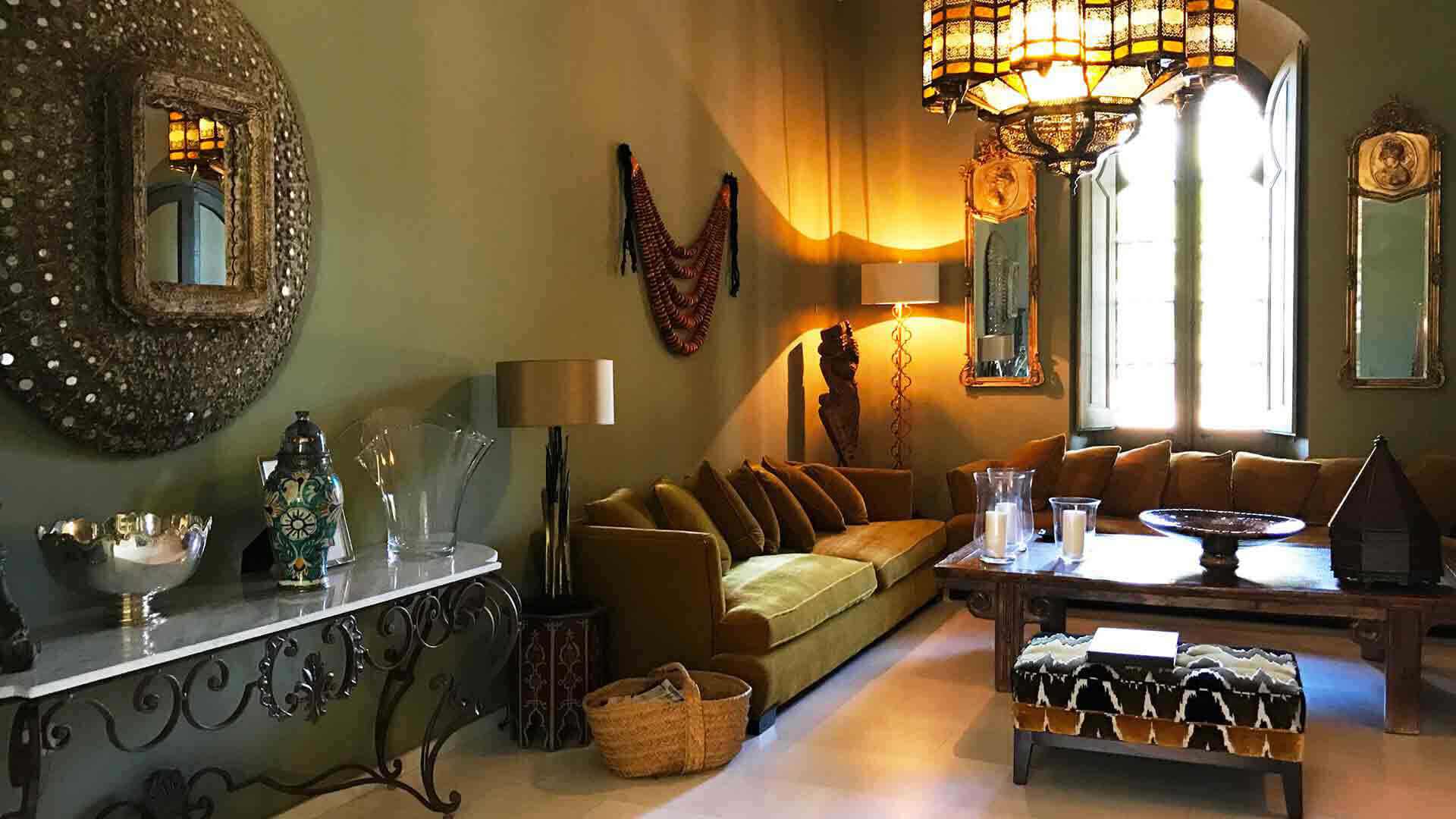 Large property outside Barcelona decorated living room in renaissance style