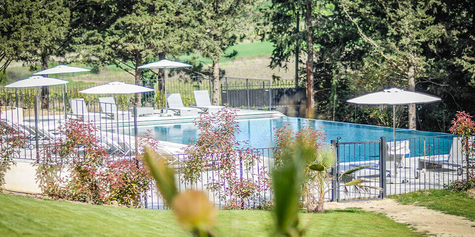 Luxury chatea in Languedoc swimming pool area