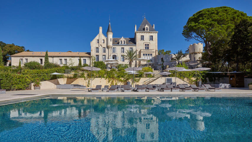 Luxury chateau in Languedoc with huge swimming pool and loungers