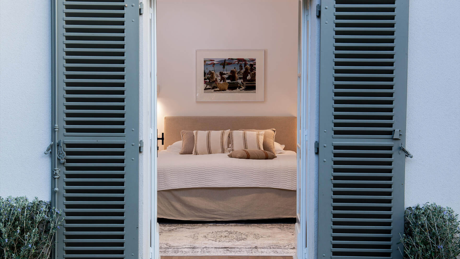 Bedroom with window shutters
