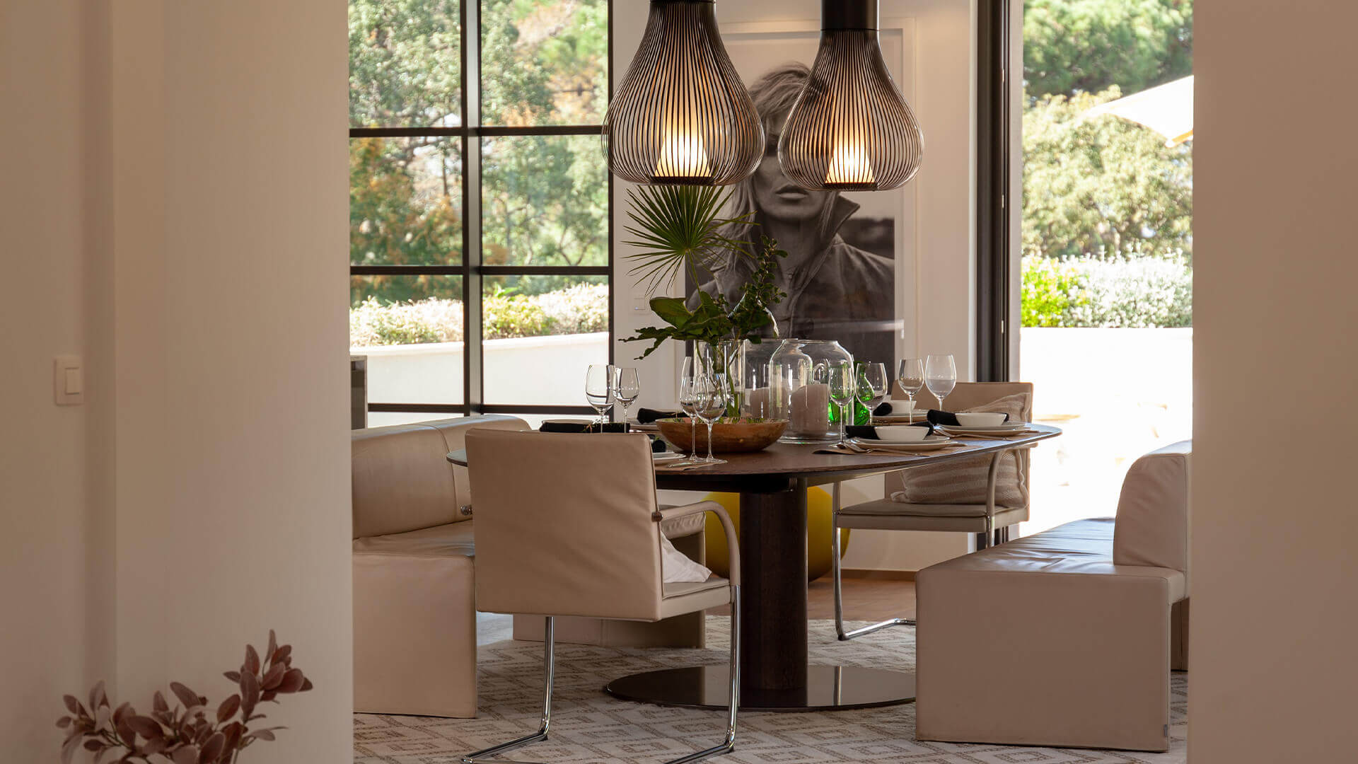 Dining area with wineglasses