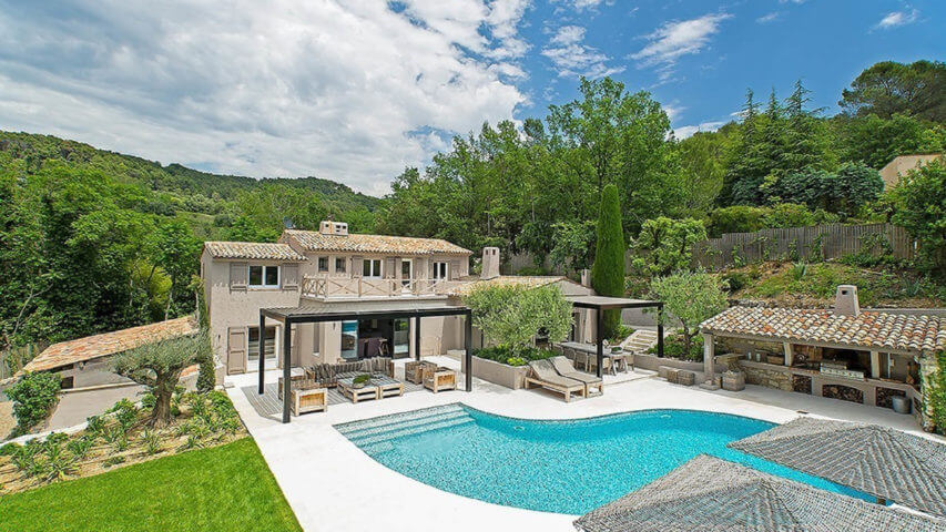 Mougins long term rental villa swimming pool and garden
