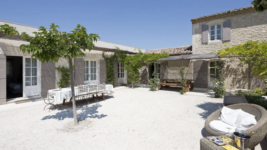 Saint Remy de Provence courtyard with a tree