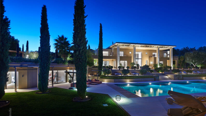 Super Cannes Luxury villa with swimming pool at night