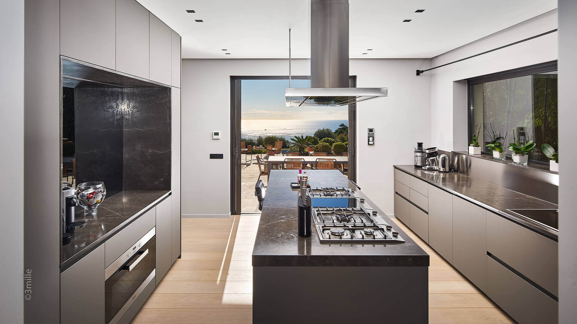 Super Cannes Luxury marble kitchen with view